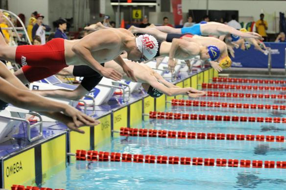 Neo in 200 Fly final at Alberta Age Group Championships LC