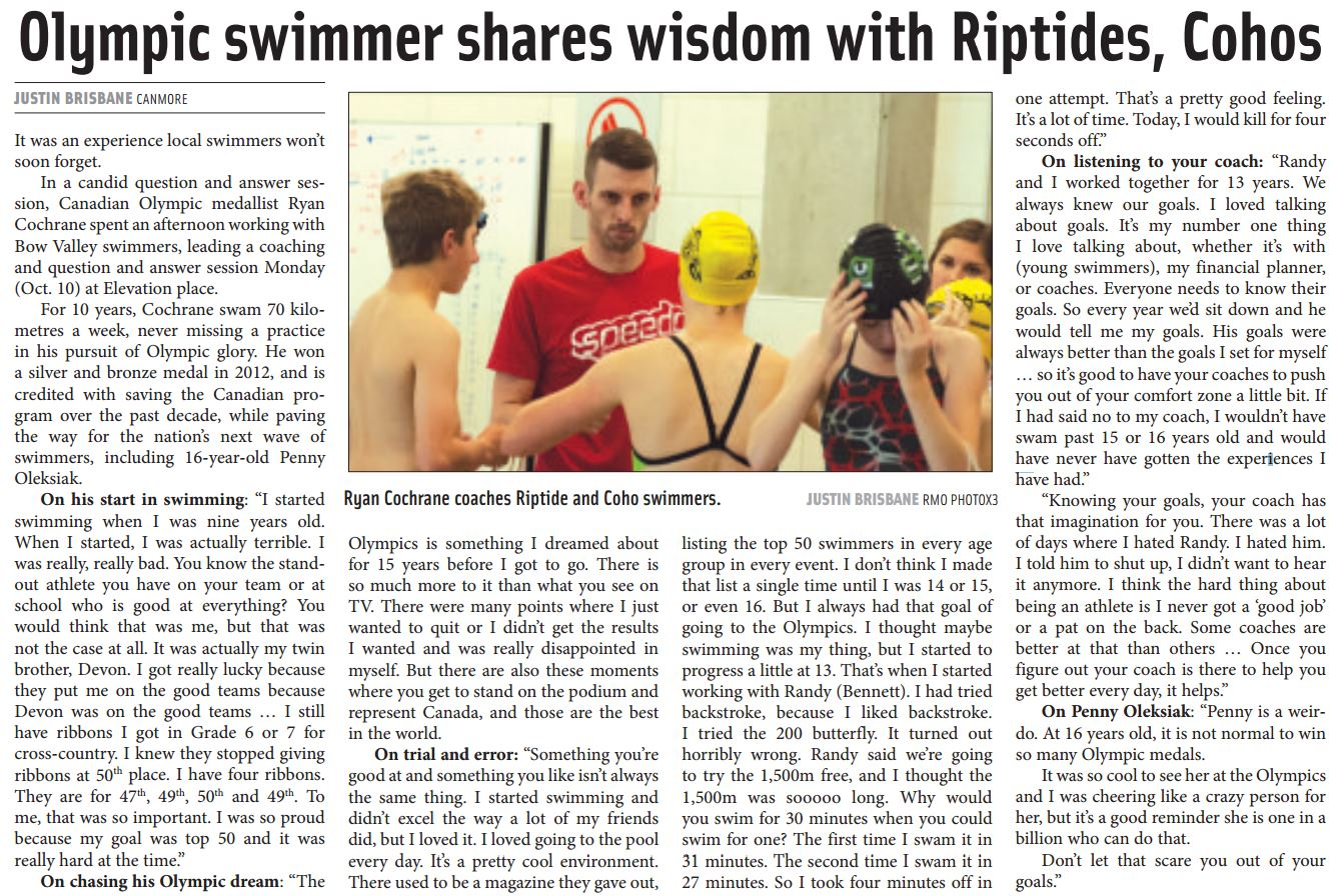 Bow valley riptides swim club competitive swimming and learn to swim programs for Cochrane pool swimming lessons